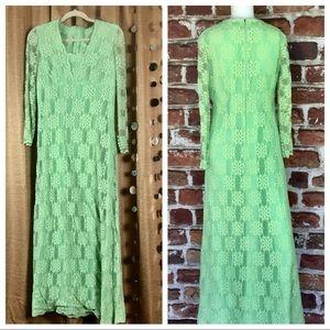 Vintage Green Lace Maxi Dress